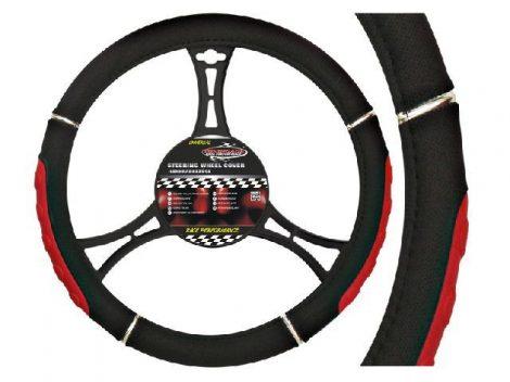 AUTOMAX Kormányvédő 37-39 cm fekete-piros króm díszítéssel műbőr