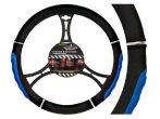 AUTOMAX Kormányvédő 37-39 cm fekete-kék króm díszítéssel műbőr