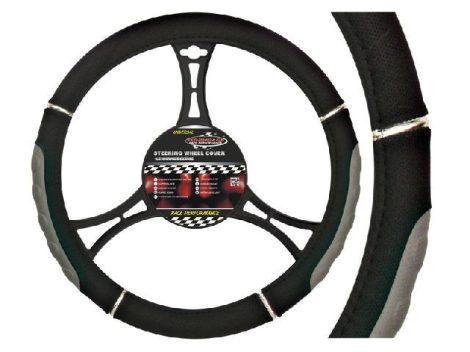 AUTOMAX Kormányvédő 37-39cm fekete-szürke króm díszítéssel műbőr
