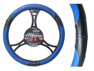 AUTOMAX Kormányvédő 37-39 cm kék-fekete műbőr