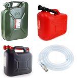 Benzinkannák és benzinszívócsövek